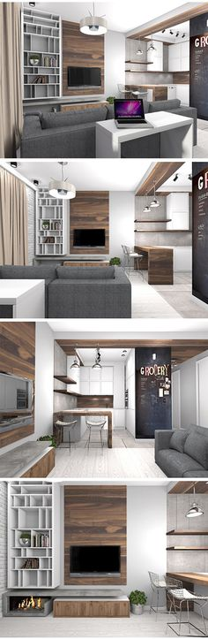 Modern living room, white kitchen cabinets, wood wall panel, grey sofa