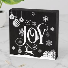 Shop Christmas JOY Ornaments Composition Wooden Box Sign created by Elle_Design. Christmas Canvas, Christmas Signs Wood, Holiday Signs, Christmas Paintings, Christmas Art, Christmas Projects, Holiday Crafts, Christmas Decorations, Christmas Ideas