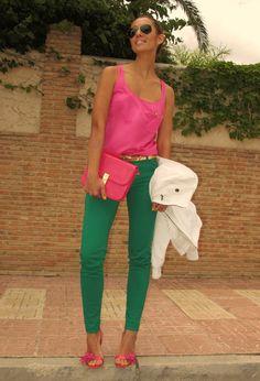PINK + GREEN - emerald pants &  pink silk top