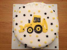 Digger Birthday Cake, Digger Cake, Baby Boy Birthday Cake, Birthday Party Treats, 2nd Birthday, Truck Cakes, Construction Birthday Parties, First Birthdays, Cake Decorating