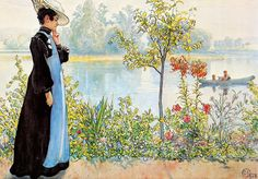 Carl Larsson-gården  This painting looks so much more beautiful up close. Those flowers and some Mucha-like contour lines