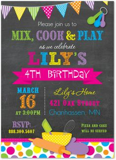 Cooking Theme Chalkboard Invitations - Girl Chef Baking Birthday Invitations