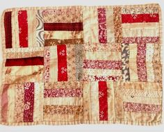 Very Pretty Antique 1860s Hand Sewn Calico Doll Quilt