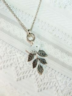 Silver Bird Necklace  Leafy Bird  Jewelry by by birdzNbeez on Etsy, $19.00