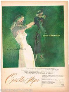 SSV-Original-CORETTE-SLIPS-LINGERIE-AD-FASHION-1940s-Vintage-Print-Advertising