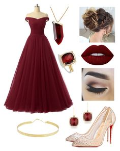 """""""Blood red princess"""" by siri12345 ❤ liked on Polyvore featuring Lana, Kenneth Jay Lane, Anne Sisteron, David Yurman, Christian Louboutin and Lime Crime"""