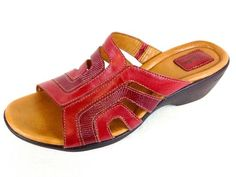 Clarks Womens Artisan Red Leather Slip on Comfort Wedge Sandals 10 M Nice | eBay