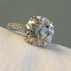 Vintage Diamond Ring Setting Farrah by JYB Diamond Ring Settings, My Settings, Vintage Diamond Rings, Antique Engagement Rings, Hand Engraving, Moissanite, Diamond Cuts, Jewels, Stone