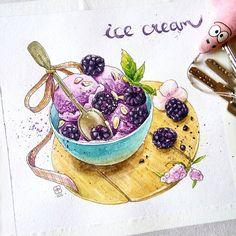 """Если бы не участие в марафонах, я бы никогда не начала рисовать в стиле food sketch что рисовала две ночи подряд, теперь хожу как зомби... Оказывается это так интересно, думаю сделать несколько серий. Вторая работа 2.2/4 на тему """"Вкусное, потому что холодное"""" #lk_goodbye_winter  #jyldyzbekova#art#anime#aquarela#aquarelle#artwork#illustration#icecream#foodsketch#sketch#waterblog#watercolorpainting#watercolor#арт#аниме#акварель#иллюстрация"""