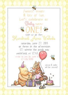 Classic Vintage Winnie the Pooh Invitation by MakLoDesignsPrints