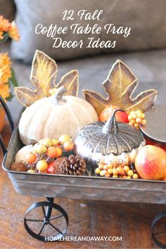 It's Fall, and I'm sharing 12 Fall Coffee Table Tray Decor Ideas that I hope will inspire you in your fall decorating. Metal Pumpkins, Glass Pumpkins, Coffee Table Tray, Coffee Table Design, Small Wooden Tray, Decorative Spheres, Pumpkin Flower, Tray Decor, Fall Decorating