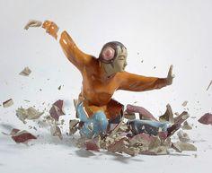 Martin Klimas / Photos of shattering figurines. Awesome.