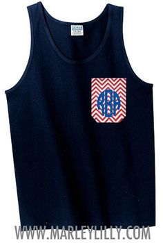 Monogrammed Boyfriend Pocket Tank Top