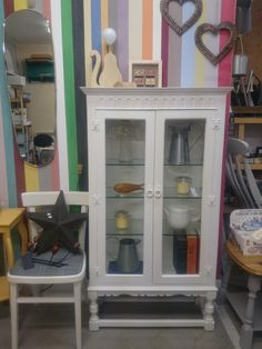 Painted in Old White Chalkpaint™ and finished with Chalkpaint™ wax. Glass panels have been replaced with new toughened glass. Display Cabinets, Glass Panels, China Cabinet, Wax, Storage, Vintage, Furniture, Home Decor, Homemade Home Decor