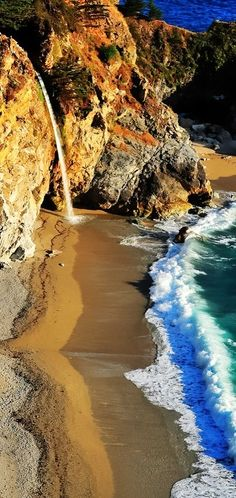 mcway falls. big sur. i volunteered here for 6 months. the whales were amazing, as were the condors, the otters, and the redwoods... :@ )