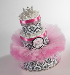 "The ""Little Princess"" Diaper Cake with Tutu and Crown for Newborn. Baby Shower Centerpiece or Gift."