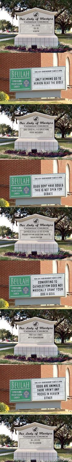 """OMG THIS IS SOOO FUNNY! It's called """"Battle of the Church Signs"""""""
