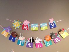 Handmade Peppa pig happy birthday banner by Craftophologie on Etsy, $40.00