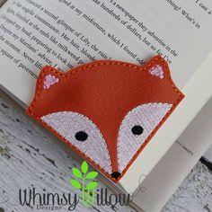 Fox Lesezeichen ITH Embroidery Design von WhimsyWillowEmb auf Etsy