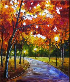 abstract oil paintings | ... Abstract Oil Painting,Park Night. Original Paintings (Canvas, Painting