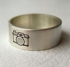 Sterling Silver Camera Ring, Photography, Band, Picture, Jewelry. $27.00, via Etsy.