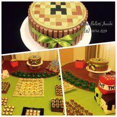 Bolo Kit Kat com tema Minecraft