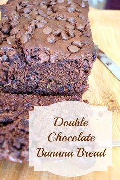 365 Days of Baking and More - Double Chocolate Banana Bread. A banana bread made with the chocolate lover in mind! Chocolate Banana Muffins, Chocolate Bundt Cake, Chocolate Milkshake, Chocolate Desserts, Sweet Recipes, Snack Recipes, Loaf Recipes, Snacks, Cupcakes