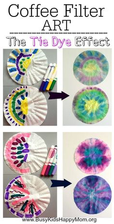 Tie Dye Coffee Filter Art for Kids - Busy Kids Happy Mom <br> Looking for a easy fun craft for your kids or students? Learn how to make pretty tie-dye coffee filter art. Coffee Filter Art, Coffee Filter Crafts, Coffee Filter Flowers, Coffee Crafts, Coffee Art, Coffee Filter Projects, Iced Coffee, Coffee Drinks, Fun Easy Crafts