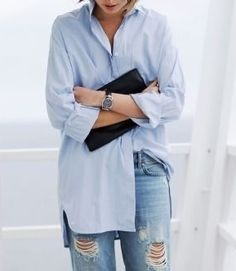 Button down with ripped jeans - love
