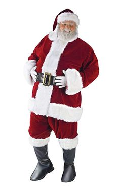 Fun World Costumes Mens PlusSize Plus Size Adult Ultra Velvet Santa Suit RedWhite XLarge -- For more information, visit image link-affiliate link. New Halloween Costumes, Christmas Costumes, Cool Costumes, Adult Costumes, Santa Costumes, Costume Ideas, Plus Size Costume, Morris Costumes, Plus Size Halloween
