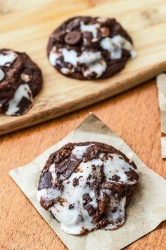 Super fudgy brownie cookies filled with York Peppermint Patties   sallysbakingaddiction.com