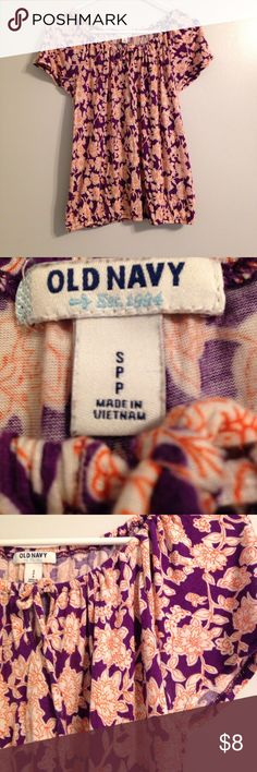 🆕 Listing! Old Navy Summer Top Bright and summery purple, white and orange floral top from Old Navy.  Elastic at waist, cap sleeves, great addition to your closet! Old Navy Tops
