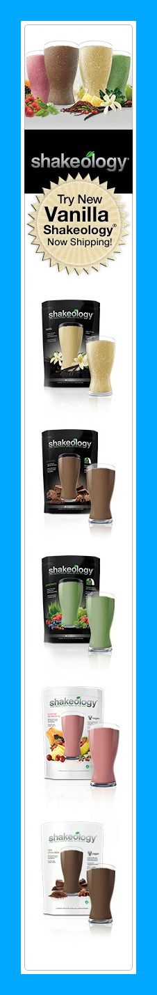 Simplify your nutrition with Shakeology®, the Healthiest Meal of the Day®. Replace one meal a day with Chocolate Vegan, Tropical Strawberry (Vegan), Greenberry, Regular Chocolate or NEW Vanilla to increase your energy, reduce cravings, lose weight, and feel great.*http://santofitlife.com/shakeology/