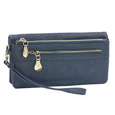eb79480964fb4 Vintage Lang Portemonnaie Frauen PU Leder Groß Geldbörsen Damen Geldbeutel  mit RFID Schutz Portmonee Geldtasche mit Reißverschluss