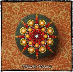 Jewel Drop Mandala Stone by Elspeth McLean #mandala #elspethmclean #paintedstone #rockart #colourful #dotty: