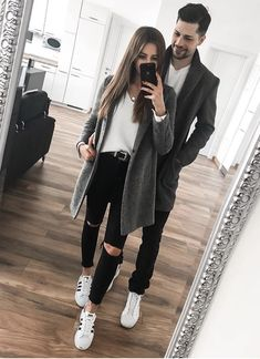 9 OR Choose your fave look! Tag your friends -… Classy Outfits, Winter Outfits, Casual Outfits, Cute Outfits, Matching Couple Outfits, Matching Couples, Fashion Couple, Girl Fashion, Fashion Outfits