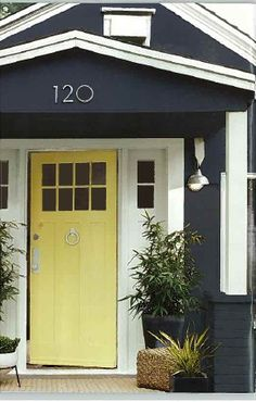 Exterior Colors + House Number // Is this Navy or Black? Let's pretend: Navy + White Trim + Yellow Door.