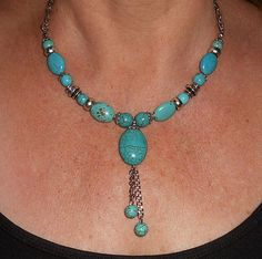 Etsy listing at https://www.etsy.com/listing/107336811/turquoise-beaded-necklace-silver-and