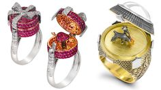 Left: Alessio Boschi Surprise Me ring with rubies and diamonds; Right: Theo Fennell opening ring in yellow and white gold