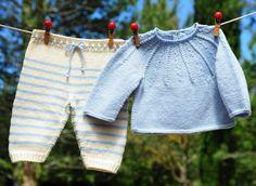 layette ensemble mérinos naissance-1 mois rayé écru et bleu neuf tricoté main brassière et pantalon