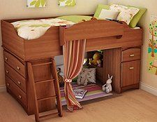 The Imagine storage loft bed w/ ladder includes a multipurpose storage unit with a medium-sized drawer and an adjustable shelf hidden behind the door, two easy-to-access open storage spaces where you can keep books or toys, and a second medium-sized drawer perfect for storing toys or any kinds of items. This storage unit can be placed under the loft bed, at one of the two ends.