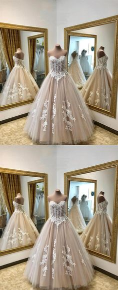 A Line Lace Appliques Wedding Dresses Sweetheart Long Bridal Dresses - New Ideas Inexpensive Wedding Dresses, Affordable Bridesmaid Dresses, Pink Wedding Dresses, Bridal Dresses, Hippie Festival, Sweetheart Wedding Dress, Perfect Wedding Dress, Prom Dresses Online, Cheap Prom Dresses