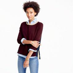 "Striped and slightly slouchy, this sweater has side snaps (with contrast details) so you can transform it into a more open or formfitting silhouette. Because who doesn't love options? <ul><li>Relaxed fit.</li><li>Hits slightly below hip.</li><li>Body length: 23 1/2"".</li><li>Sleeve length: 30"".</li><li>Cotton.</li><li>Dry clean.</li><li>Import.</li></ul>"