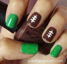 Football nails!! Only replace the green with some blue and white because WE ARE... PENN STATE!