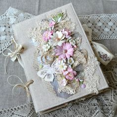 """Anna Kuvykina: JV """"Summer in your town"""" Stage 6 Final Mini Albums, Mini Scrapbook Albums, Vintage Notebook, Diy Notebook, Fabric Book Covers, Shabby Chic Cards, Fabric Journals, Art N Craft, Handmade Books"""