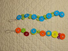 UPDATE: I made some button bracelets with my 10-year-old daughter. We used hemp, which was a little frustrating because it just barely made it through the holes, but I like the look.