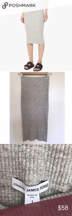 James Perse Pencil Skirt Melange ribbed heather grey pencil skirt. James Perse Skirts Midi