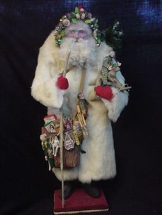 """Norma DeCamp ~ circa 2009 OOAK GORGEOUS 30""""H Santa, fur coat, all handmade toys along with toys encircling his head wreath. (All-time favorite DeCamp piece--just love Santa's face)"""