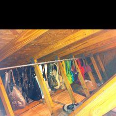 Purse storage in the attic.