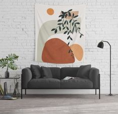 Designed by City Art, this piece features colors of burnt orange, peach, sage green and a a touch of deep green to brighten any interior space and bring a touch of the outdoors in. This tapestry comes in three sizes to fit any space. Society 6 Tapestry, City Art, Tapestry Wall Hanging, Minimalist Design, Home Decor Inspiration, Vivid Colors, Picnic Blanket, Shapes, Throw Pillows
